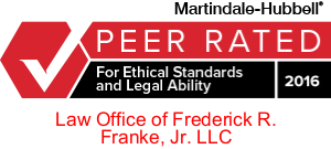 Martindale Peer Review Rated| Law Offices of Fred Franke Jr | Annapolis Maryland